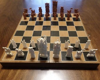 Chinese Hand Carved Ivory Chess Set, Vintage Ivory Chess Set