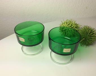 Green luminarc champagne glasses dessert glasses 70s vintage set of 2