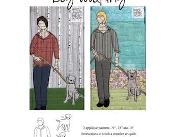 Appliqué Quilt Pattern - Dog Walker - Digital Download