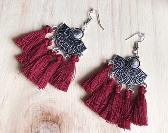 Ethnic Burgundy agate earrings
