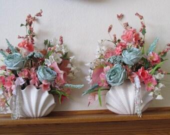 Pair of Aqua Seafoam, Coral and White Beaded Silk Flower Arrangements for Bridal Decor