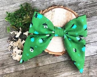 Green fabric baby sailor bow headband