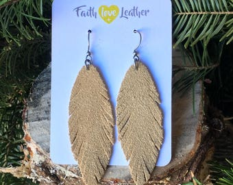 Feathered and Free suede leather earrings