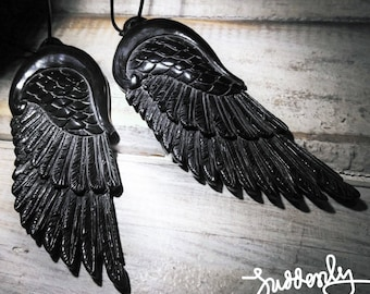 Beautiful Black Angel Wing Necklace / Made of Horn