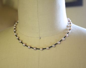 Vintage Style 50's beaded necklace - Fresh water pearl, Black Crystal + Plated Silver