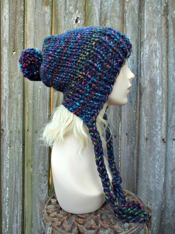 Chunky Knit Hat Womens City Lights Rainbow Slouchy Pom Pom Hat - Ear Flap Beanie Braided Ties Warm Winter Hat - Charlotte - READY TO SHIP