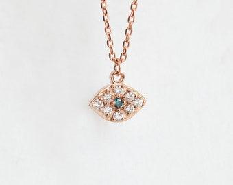 Eye Necklace, Diamond Necklace, Diamond Chain, Evil Eye Necklace, Blue Diamond Necklace, Rose Gold Necklace, Hamsa Hand Protection Chain