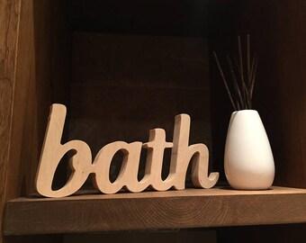 Bathroom wooden sign 'bath', rustic restroom sign decor, plain wood sign, unpainted bath letters