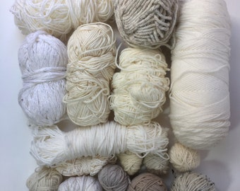 Mixed Yarn Lot Cream + White Shades for Weaving + Fiber Arts