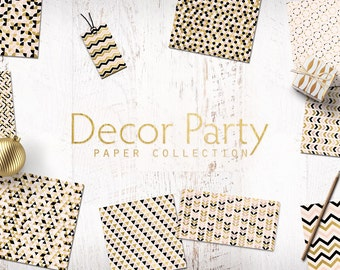 Decor Party Digital Paper Pack in Nude Gold Foil and Blanc  - 10 Digital Gold Layouts with Triangles, Chevron Patterns - Instant Download