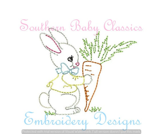 Vintage easter bunny rabbit digital design file embroidery for Embroidery office design version 9