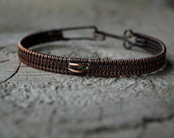 Peridot//Copper Bangle