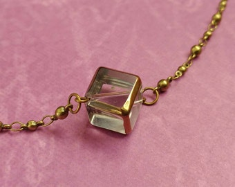 Beauty Gift Glass Cube With Gold Accents on a Gold-Plated Brass Ball & Link Chain Necklace