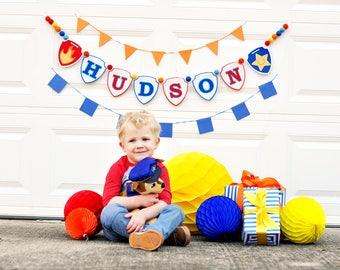 First Birthday Banner - 1st birthday boy - Happy Birthday banner - Highchair banner - First birthday boy - Marshall - Chase - 1st Birthday