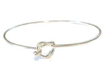 Sterling Silver Bangle with Love Knot Front Opening - Wedding - Friendship - Tie the Knot - 925 Hallmarked