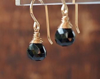 Black Tourmaline Earrings, Schorl, Natural Gemstone Earrings, October Birthstone, Protection Talisman 14K Rose Gold Filled Sterling Silver