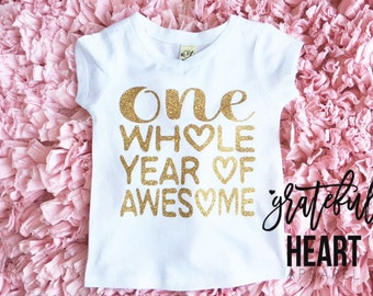 One year old shirt, First Birthday outfit, Birthday girl shirt, Gold glitter t-shirt, One year old girl birthday outfit, One year old shirt