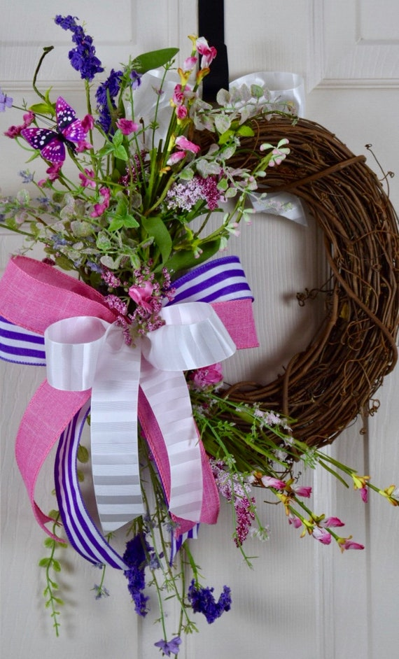 Small Spring Grapevine Wreath with Pink and Purple Flower; Floral Summer Wreath; Easter Floral Wreath Door Decor; Summer Wreath Door Decor