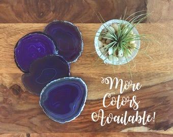 Purple Agate Coaster Set- Agate Slice, Stone Coasters, Agate Decor, Agate Geode, Geode Coasters,  Sister Gift, black friday sale, Geodes