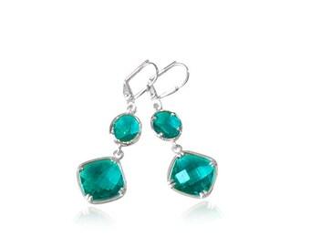 Turquoise crystal drop earrings, November birthstone earrings, Geometric silver drop earrings, Blue bridal earrings,Turquoise Blue jewellery
