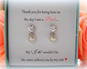 Drop Pearl Bridal Earrings, Pearl Bridesmaid Earrings, Wedding Jewelry, Bridesmaid Gifts, Maid of Honor, Bridal Party Gifts