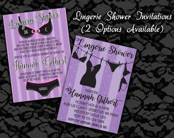 Printable Invitations, Lingerie Shower, Lingerie Party Invitations, Bridal Shower Invitations, Purple Invitations, Women's Party Invites