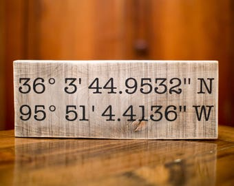 Wedding Gift Anniversary Gift | Father's Day Gift | Graduation Gift | Latitude Longitude Sign | Gift For Her | GPS Coordinates Gift