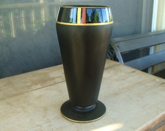 Antique Art Deco Tiffin Glass Vase Hand Painted Dahlia Vase Black Satin Art Glass With Gold Accents And Stripes