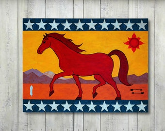 Red Horse, Modern Folk Art, Folk Art Painting, Large Painting, Native American Design, Americana, Original Painting by JP Goodman