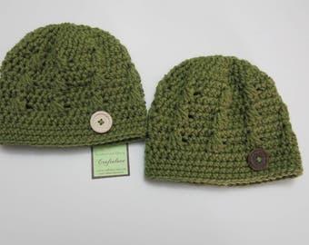 Crochet baby hat - Baby boy hat- Dusty Green Baby Boy Hat-Set of 2- Twin Baby Boy hat-CHOOSE YOUR SIZE - Twin baby boys - Twin baby shower