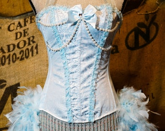 ICE PRINCESS Marie Antoinette Costume Blue Victorian lace Burlesque Corset dress