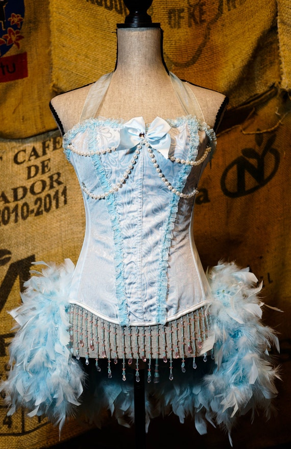 LARGE - ICE PRINCESS blue beaded corset dress burlesque showgirl Halloween costume with feathers