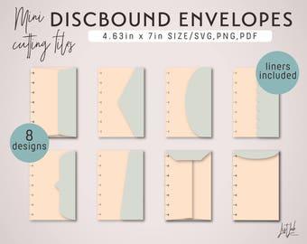 Mini Disc Bound PLANNER ENVELOPES – Die Cutting Files Set (8 Designs) - svg, png, pdf