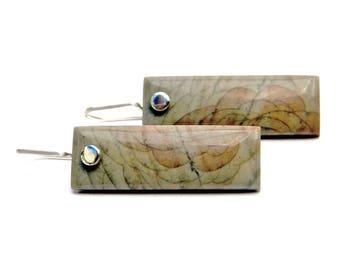 """Wave Jasper Earrings, Wave Jasper Dangle Earrings, Jasper Earrings in Sterling, """"Wind Wave"""" Jasper Earrings"""