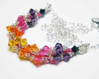 """Sunset Orange and Pink Swarovski Crystal Necklace Beadweaving Sterling Silver - """"Risika's Brilliant Sunset"""""""