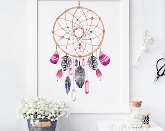 Dream Catcher, Watercolor Art Printable, Tribal Wall Print, Boho Printable,  Dreamcatcher Art