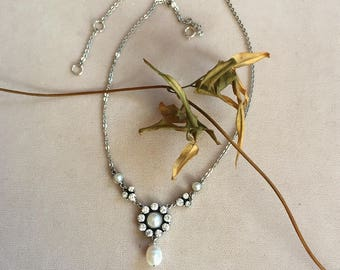 Necklace with Cubic Zirconium, freshwater pearls  and Sterling Silver
