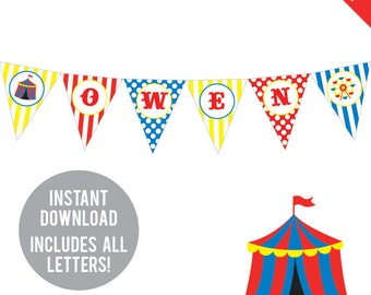 INSTANT DOWNLOAD Carnival or Circus Party - DIY printable pennant banner - Includes all letters, plus ages 1-18