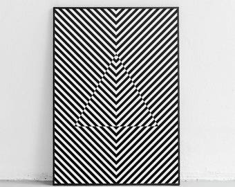 Black and White Abstract Art, Optical Illusion Art, Geometric Print, Bridget Riley Art, Black and White Art Print, Optical Wall Art