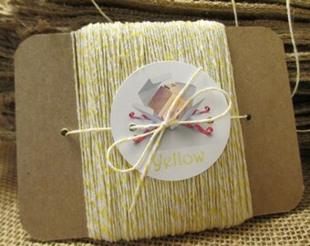 Bakers Twine, Yellow Bakers Twine, 50 YARDS Yellow Bakers Twine, 4 Ply, Wrapped on Kraft Chipboard