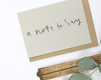 A Note To Say Notecard Set - set of 8 notecards and kraft envelopes