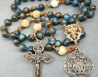 Rosary Blue Apatite with Gold Flashing, in Bronze