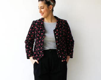 Vintage 1950s Jacket / Floral Corduroy Jacket / Size M L
