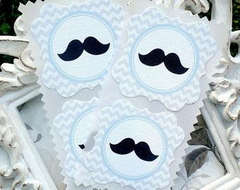 Chevron Mustache Stickers (8) Mustache Baby Shower-Mustache Party-Baby Boy Stickers-Lil Man Shower-Favor Stickers-Candy Bag Stickers