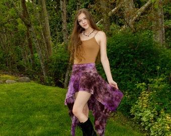 Organic Persephone Goddess Skirt - Womens Boho Skirt -  Short Hippie Skirt - Festival Mini skirt - Pixie Fairy Skirt