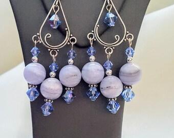 Blue Lace Agate and Swarovski Chandelier Earrings