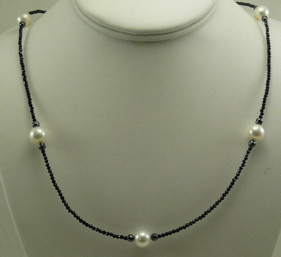 """Freshwater White Pearl, Black Spinel and Hematite Necklace with Silver Clasp 36"""""""