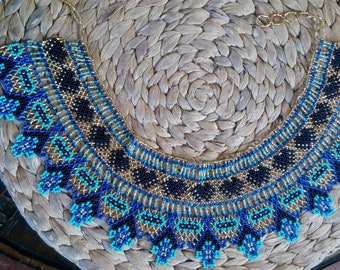 Mayan Priestess Beaded Collar Necklace Boho Choker
