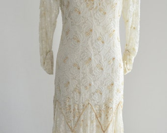 OFF WHITE Bohemian Bride sequins and floral lace wedding dressLong sleeve XS