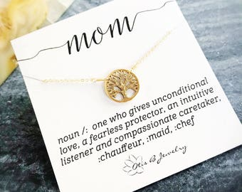Family tree of life charm necklace, mothers day gift, mother of the bride, mom definition message card, motherhood, new mommy, pregnancy